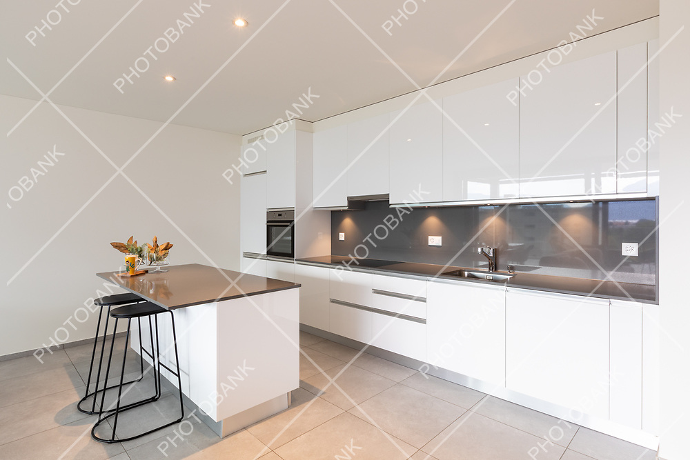 Interior of a kitchen of a modern apartment. Nobody inside.