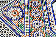 Berber Arabesque  Zellige tiles of the Marrakesh museum in the Dar Menebhi Palace, Marrakesh, Morocco .<br /> <br /> Visit our MOROCCO HISTORIC PLAXES PHOTO COLLECTIONS for more   photos  to download or buy as prints https://funkystock.photoshelter.com/gallery-collection/Morocco-Pictures-Photos-and-Images/C0000ds6t1_cvhPo<br /> .<br /> <br /> Visit our ISLAMIC HISTORICAL PLACES PHOTO COLLECTIONS for more photos to download or buy as wall art prints https://funkystock.photoshelter.com/gallery-collection/Islam-Islamic-Historic-Places-Architecture-Pictures-Images-of/C0000n7SGOHt9XWI