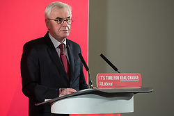 London, UK. 19 November, 2019. Shadow Chancellor John McDonnell answers questions from the media following a major speech on the economy in Westminster. His speech promised that a Labour government would rewrite the rules of the economy through reforms to business regulation that would lay some of the foundations of a stakeholder economy and help workers to take back control.