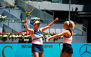 Barbora Krejcikova and Katerina Siniakova of the Czech Republic in action during the doubles final of the Mutua Madrid Open 2021, Masters 1000 tennis tournament on May 8, 2021 at La Caja Magica in Madrid, Spain - Photo Rob Prange / Spain ProSportsImages / DPPI / ProSportsImages / DPPI