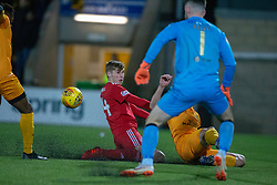 Aberdeen's Dean Campbell scoring their second goal. Livingston 1 v 2 Aberdeen, SPFL Ladbrokes Premiership played 29/1/2018 at Livingston home ground, Tony Macaroni Arena.