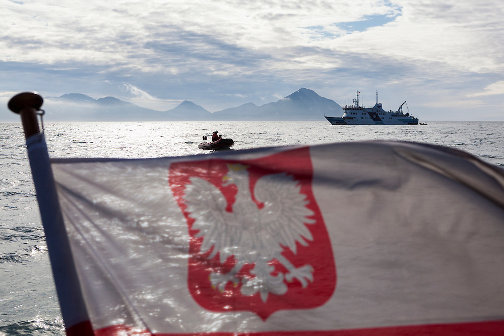 Scientists arrive by ship from Poland to the Polish Polar Station in Hornsund, Svalbard.