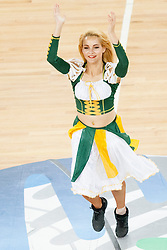 Cheerleaders Klaipeda University Leaderdance during basketball match between National teams of Ukraina and Lithuania in 2nd Round at Day 12 of Eurobasket 2013 on September 14, 2013 in SRC Stozice, Ljubljana, Slovenia. (Photo By Urban Urbanc / Sportida)