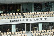 Empty VIP lounge seats inside Philippe Chatrier stadium during the Roland Garros 2020, Grand Slam tennis tournament, on October 5, 2020 at Roland Garros stadium in Paris, France - Photo Stephane Allaman / ProSportsImages / DPPI