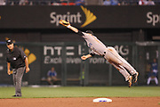 20 July 2010:   Toronto Blue Jays second baseman Aaron Hill (2) catches line drive during Tuesday's baseball game, between the Kansas City Royals and the Toronto Blue Jays at Kauffman Stadium in Kansas City, Missouri.<br /> Mandatory Credit: James Allison / Southcreek Global