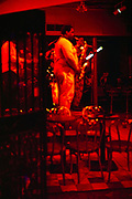 Jazz music saxophone musician on stage, French Quarter, New Orleans, Louisiana, USA 1989