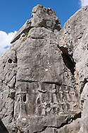 Picture of Yazilikaya [ i.e written riock ], Hattusa  The largest known Hittite sanctuary. 13th century BC made in the reign of Tudhaliya 1V .1 .<br /> <br /> If you prefer to buy from our ALAMY PHOTO LIBRARY  Collection visit : https://www.alamy.com/portfolio/paul-williams-funkystock/yazilikaya-hittite-sanctuary-hattusa.html<br /> <br /> Visit our ANCIENT WORLD PHOTO COLLECTIONS for more photos to download or buy as wall art prints https://funkystock.photoshelter.com/gallery-collection/Ancient-World-Art-Antiquities-Historic-Sites-Pictures-Images-of/C00006u26yqSkDOM
