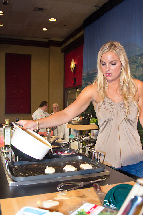 Chef Jennifer Muelller demonstrates how to prepare a five course breakfast during the Atlantic City Food & Wine Festival.