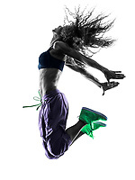 one african woman woman zumba dancer dancing exercises  in studio silhouette isolated on white background