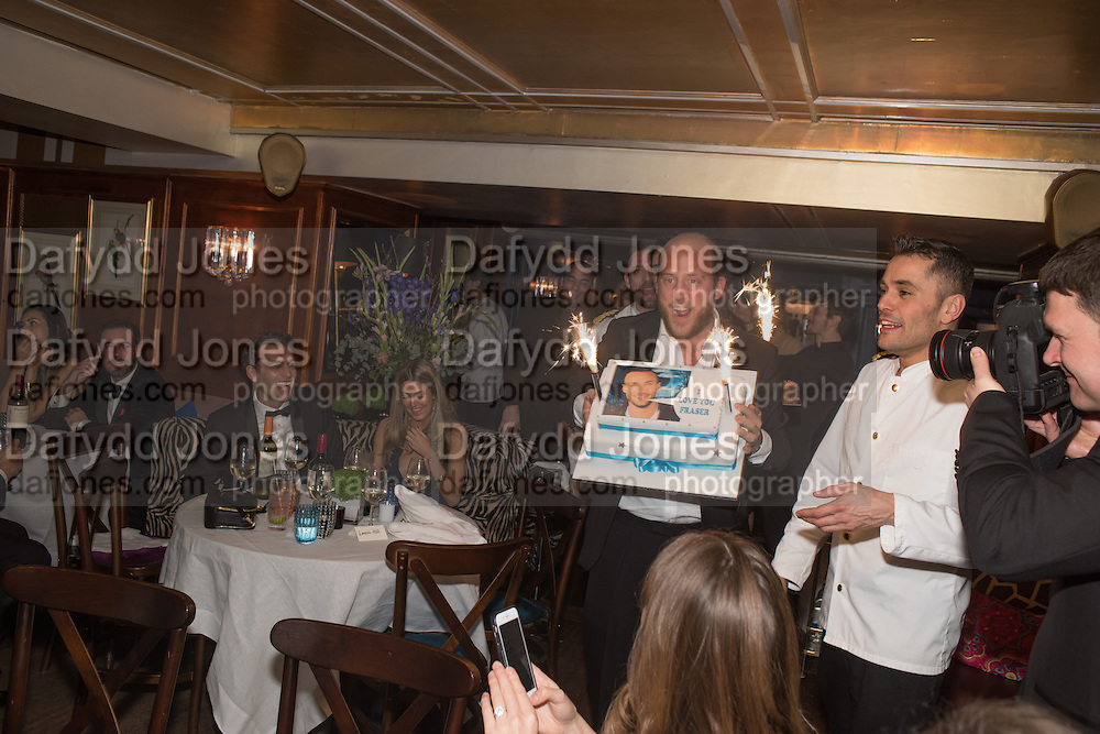 CARLO CARELLO, Fraser Carruthers  and Harry Scofield birthday. Archie's club, 92b Old Brompton Rd. London. 11 February 2017
