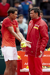 April 6, 2018 - Valencia, Valencia, Spain - Rafael Nadal (L) of Spain talks with Sergi Bruguera Captain of Spain in his match against Philipp Kohlschreiber of Germany during day one of the Davis Cup World Group Quarter Finals match between Spain and Germany at Plaza de Toros de Valencia on April 6, 2018 in Valencia, Spain  (Credit Image: © David Aliaga/NurPhoto via ZUMA Press)