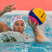 Marton Szivos of Hungary fights for the ball during the Vodafone Waterpolo Cup in Budapest, Hungary on July 17, 2012. ATTILA VOLGYI
