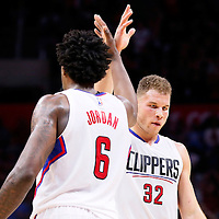 19 November 2015: Los Angeles Clippers forward Blake Griffin (32) high five Los Angeles Clippers center DeAndre Jordan (6) during the Golden State Warriors 124-117 victory over the Los Angeles Clippers, at the Staples Center, Los Angeles, California, USA.