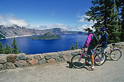Bicyclists At Crater Lake