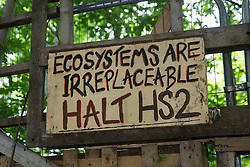 Wendover, UK. 16th June, 2021. A sign is pictured outside Stop HS2's Wendover Active Resistance Camp alongside the A413. Large areas of land around Wendover in the Chilterns AONB have already been cleared of trees and vegetation for the HS2 rail infrastructure project in spite of concerted opposition from local residents and environmental activists.