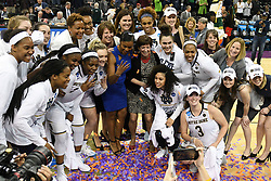 March 26, 2018 - Spokane, WA, U.S. - SPOKANE, WA - MARCH 26: the Notre Dame team and coaches celebrate their win of the game between the Oregon Ducks and the Notre Dame Fighting Irish played on March 26, 2018 at the Veterans Memorial Arena in Spokane, WA.. (Photo by Robert Johnson/Icon Sportswire) (Credit Image: © Robert Johnson/Icon SMI via ZUMA Press)