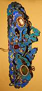 Hair ornament of gilt filigree, semi-precious stones and kingfisher feather. Japanese