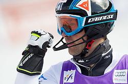 DEVILLE Cristianof Italy celebrates in finish area after he competed in 2nd Run of Men's Slalom - Pokal Vitranc 2012 of FIS Alpine Ski World Cup 2011/2012, on March 11, 2012 in Vitranc, Kranjska Gora, Slovenia.  (Photo By Vid Ponikvar / Sportida.com)