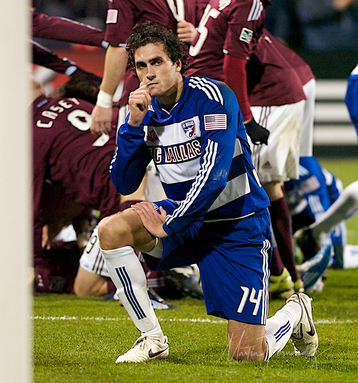 FC Dallas' George John shortly after deflecting a ball into his own goal. The goal would give Colorado the lead for good in the 2010 MLS Cup. Colorado would  go on to win their first MLS Cup 2-1 against FC Dallas