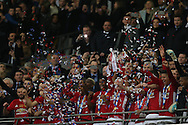 Wayne Rooney of Manchester Utd lifts the trophy after the 3-2 win. EFL Cup Final 2017, Manchester Utd v Southampton at Wembley Stadium in London on Sunday 26th February 2017. pic by Andrew Orchard, Andrew Orchard sports photography.