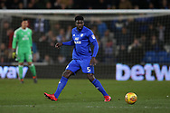 Bruno Ecuele Manga of Cardiff city in action.  EFL Skybet championship match, Cardiff city v Bolton Wanderers at the Cardiff city Stadium in Cardiff, South Wales on Tuesday 13th February 2018.<br /> pic by Andrew Orchard, Andrew Orchard sports photography.