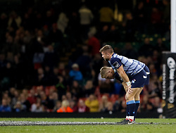 Cardiff Blues' Gareth Anscombe with team-mate Cardiff Blues' Lewis Jones  dejected at the final whistle<br /> <br /> Photographer Simon King/Replay Images<br /> <br /> Guinness PRO14 Round 21 - Cardiff Blues v Ospreys - Saturday 28th April 2018 - Principality Stadium - Cardiff<br /> <br /> World Copyright © Replay Images . All rights reserved. info@replayimages.co.uk - http://replayimages.co.uk