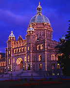 Evening view of Parliament Buildings constructed in 1898, Victoria, British Columbia, Canada.