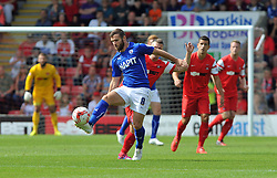 Chesterfield's Jimmy Ryan tussles for the ball with Leyton Orient's Dean Cox - photo mandatory by-line David Purday JMP- Tel: Mobile 07966 386802 09/08/14 - Leyton Orient v Chesterfield - SPORT - FOOTBALL - Sky Bet Leauge 1 - London -  Matchroom Stadium