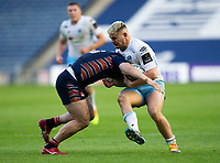 Rugby Union - 2021 Guinness Pro14 Rainbow Cup - Northern Group - Edinburgh vs Glasgow Warriors - Murrayfield<br /> <br /> Tom Lambert of Glasgow Warriors is tackled by Mike Willlemse of Edinburgh Rugby<br /> <br /> Credit : COLORSPORT/BRUCE WHITE