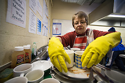 Volunteers working at the soup kitchen