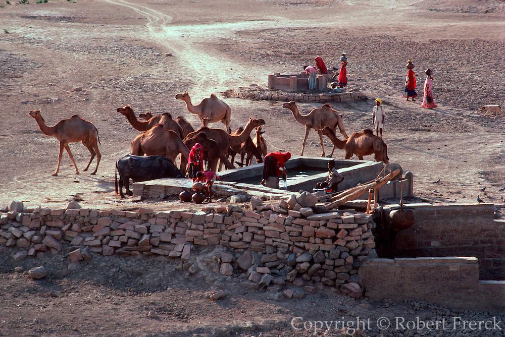 INDIA, RAJASTHAN Desert well near a village at Jodhpur