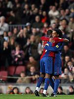 "Samuel Eto'o, Ronaldinho (Barcelona)<br /> <br /> Spanish ""La Liga"" 2006-07<br /> <br /> 25 Feb 2007 (Match Day 24)<br /> <br /> Barcelona - Athletic (3-0)<br /> <br /> ""Nou Camp""-Stadium-Barcelona-Spain<br /> <br /> Photographer: Paco Serinelli INSIDE"