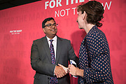 Anneliese Dodds MP shakes hands with former City financier Professor Avinash Persaud launches a new policy paper in London on modernising the UKs existing financial transactions tax i.e. Robin Hood Tax on July 18th 2017 in London, United Kingdom. Speaking on a panel with Labours Shadow Chancellor John McDonnell, who has adopted the papers policy recommendations.