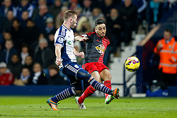 Neil Taylor of Swansea City is challenged by Callum McManaman of West Brom - Photo mandatory by-line: Rogan Thomson/JMP - 07966 386802 - 11/02/2015 - SPORT - FOOTBALL - West Bromwich, England - The Hawthorns - West Bromwich Albion v Swansea City - Barclays Premier League.