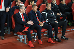 14 September 2017 -  UEFA Europa League (Group H) - Arsenal v FC Koln - FC Koln Head coach Peter Stoger (L) and assistant Manfred Schmid wearing bright Red shoes and socks - Photo: Marc Atkins/Offside