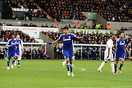 Diego Costa of Chelsea celebrates after he scores his teams 2nd goal. Barclays Premier League match, Swansea city v Chelsea at the Liberty Stadium in Swansea, South Wales on Saturday 17th Jan 2015.<br /> pic by Andrew Orchard, Andrew Orchard sports photography.