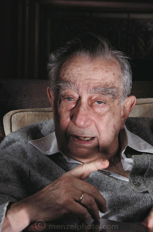 """Hungarian-born American physicist Edward Teller, who is best known as """"the father of the hydrogen bomb"""". Seen here at his home in Stanford, California. Born in 1908, he obtained his Ph.D. at the University of Leipzig. He left Europe in the 1930s because of the Nazi threat. During World War II he worked at Los Alamos on the development of the atom bomb. In the late 1940s & early 1950s he championed development of the H-bomb & achieved the crucial technical breakthrough that made the bomb possible. The first H-bomb was exploded in the South Pacific in 1952. MODEL RELEASED.Teller died in Stanford, California on September 9, 2003."""
