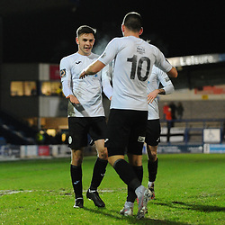 TELFORD COPYRIGHT MIKE SHERIDAN GOAL. Ryan Barnett of Telford congratulates Aaron Williams of Telford  after he scores to make it 1-0 during the Vanarama Conference North fixture between AFC Telford United and Blyth Spartans at The New Bucks Head on Tuesday, January 28, 2020.<br /> <br /> Picture credit: Mike Sheridan/Ultrapress<br /> <br /> MS201920-043