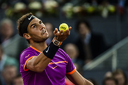 May 11, 2017 - Madrid, Madrid, Spain - RAFAEL NADAL (ESP) serves the ball to Nick Kyrgios (AUS) in round 3 of the 'Mutua Madrid Open' 2017. Nadal won 6:3, 6:1 (Credit Image: © Matthias Oesterle via ZUMA Wire)