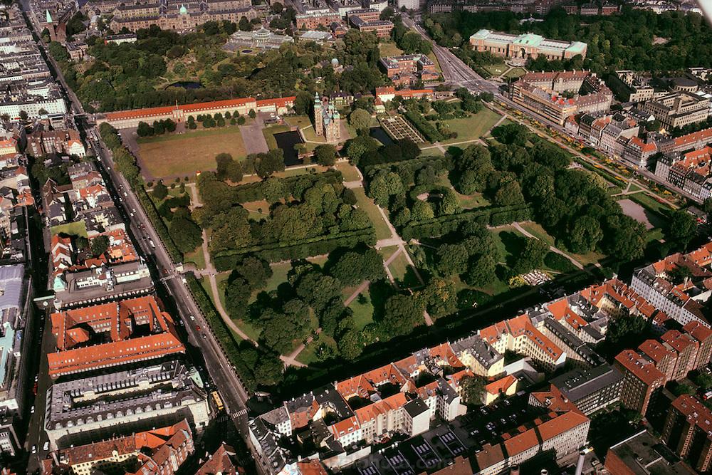 Aerial of Rosenborg Garden & Palace. Copenhagen, Denmark.