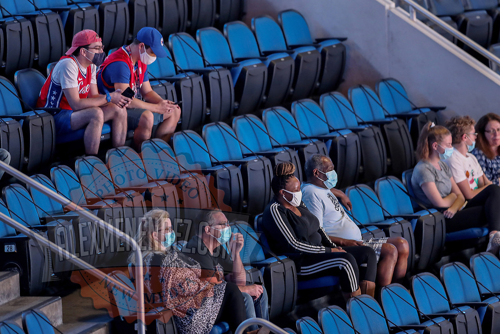 ORLANDO, FL - DECEMBER 31:  Empty seats due to Covid-19 restrictions are seen during the Philadelphia 76ers against the Orlando Magic NBA basketball game at Amway Center on December 31, 2020 in Orlando, Florida. NOTE TO USER: User expressly acknowledges and agrees that, by downloading and or using this photograph, User is consenting to the terms and conditions of the Getty Images License Agreement. (Photo by Alex Menendez/Getty Images)*** Local Caption ***