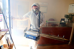 SOUTH AFRICA - Cape Town - 19 May 2020 - Gary Phillips from Steamachine busy with a preventative decontamination of Laser Clear Dermal clinic in Parklands. The machine that is used uses chemicals by SaniGuard that produces a mist that covers all surfaces killing the Coronavirus Covid-19.  Picture:Brendan Magaar/African News Agency (ANA)