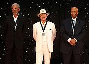 ATLANTA, GA - MAY 14:  (From left to right) Morgan Freeman, Carlos Santana and Ernie Banks gather after the MLB Beacon Awards Banquet at the Omni Hotel on May 14, 2011 in Atlanta, Georgia.  (Photo by Mike Zarrilli/Getty Images)