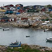 A small boat harbor in Qeqertarsuaq, Greenland.