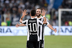 August 13, 2017 - Rome, Italy - Paulo Dybala of Juventus celebrates scoring second goal with Gonzalo Higuain of Juventus during the Italian Supercup Final match between Juventus and Lazio at Stadio Olimpico, Rome, Italy on 13 August 2017. (Credit Image: © Giuseppe Maffia/NurPhoto via ZUMA Press)