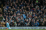 Kelechi Iheanacho (Manchester City) celebrates scoring City's equaliser in front of the Manchester City fans during the Barclays Premier League match between Manchester City and Tottenham Hotspur at the Etihad Stadium, Manchester, England on 14 February 2016. Photo by Mark P Doherty.