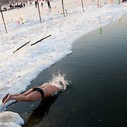 Swimming in Frozen Houhai Lake in Beijing