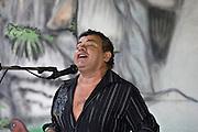 Singer in open-air bar