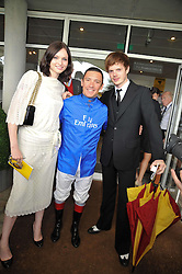 Left to right, SOPHIE ELLIS-BEXTOR, FRANKIE DETTORI and RICHARD JONES at the 3rd day of the 2009 Glorious Goodwood racing festival held at Goodwood Racecourse, West Sussex on 30th July 2009.