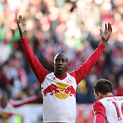 Bradley Wright-Phillips, New York Red Bulls, celebrate after scoring his sides first goal during the New York Red Bulls Vs D.C. United, Major League Soccer regular season opening match at Red Bull Arena, Harrison, New Jersey. USA. 22nd March 2015. Photo Tim Clayton